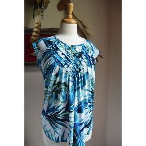 NWT Premise Smocked Blue Print Top - Small